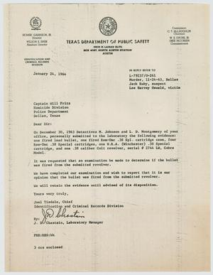 Primary view of object titled '[Letter by Joel Tisdale to Captain J. W. Fritz, November 24, 1963 #1]'.