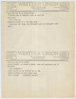 Primary view of object titled '[Telegrams to Jack Ruby from Frank and Dot Pikul and Bill Bourque, November 24, 1963 #2]'.