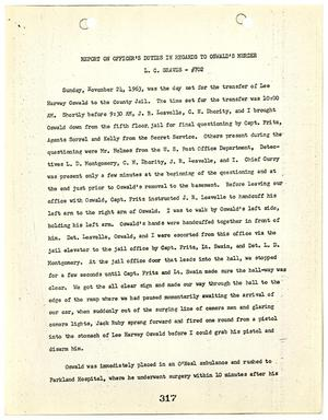 Primary view of object titled '[Report on Officer's Duties by L. C. Graves, regarding the murder of Lee Harvey Oswald]'.