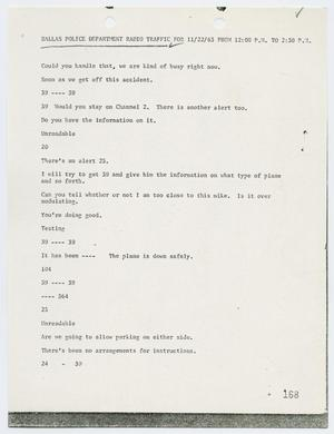Primary view of object titled '[Radio Traffic Transcript from President John F. Kennedy's arrival to Lee Harvey Oswald's Arrest]'.