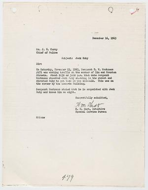 Primary view of object titled '[Report from H. M. Hart to Chief J. E. Curry, concerning the activities of Jack Ruby #2]'.