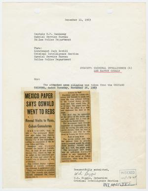 Primary view of object titled '[Report to W. P. Gannaway by W. S. Biggio, December 11, 1963 #1]'.