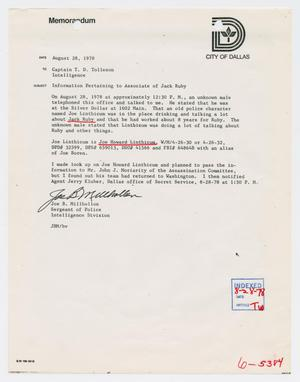 [Memo to T. D. Tolleson from Joe B. Millhollon, August 28, 1978]