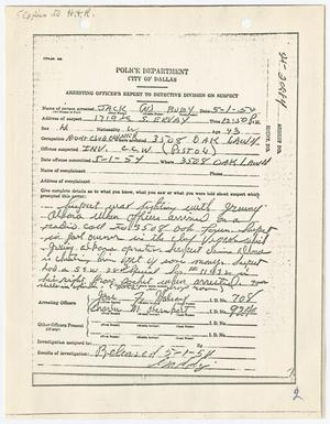 Primary view of object titled '[Arresting Officer's Report by E. R. Gaddy, May 1, 1954]'.