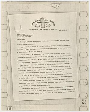 Primary view of object titled '[Letter from the Fair Play for Cuba Committee to Lee Harvey Oswald, May 29, 1963 #2]'.
