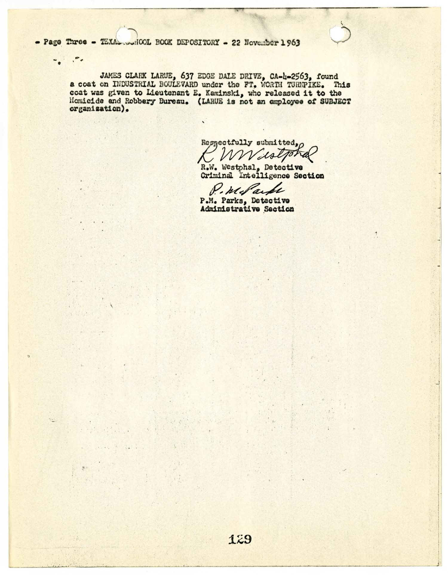 [Intelligence Report by R. W. Westphal to Captain W. P. Gannaway #1]                                                                                                      [Sequence #]: 5 of 6