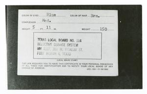 Primary view of object titled '[Back of Selective Service Card]'.