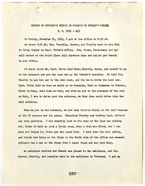 Primary view of object titled '[Report on Officer's Duties by E. R. Beck, in regards to Lee Harvey Oswald's murder #1]'.