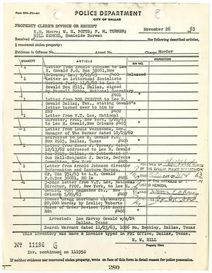 Primary view of object titled '[Property Clerk's Invoice or Receipt for property belonging to Lee Harvey Oswald, by H. W. Hill]'.