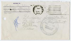 Primary view of object titled '[Envelope from Sandra Saulsbery to Division of Investigation]'.