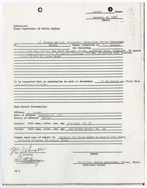 Primary view of object titled '[Laboratory Report by M. Johnson, December 30, 1963 #1]'.