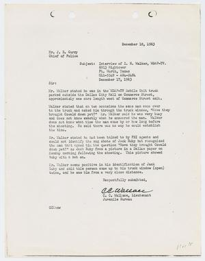 Primary view of object titled '[Report from C. C. Wallace to Chief J. E. Curry, December 27, 1963]'.