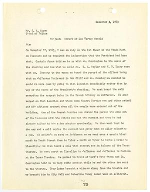 Primary view of object titled '[Report from Marvin A. Buhk to Chief J. E. Curry, concerning the arrest of Lee Harvey Oswald #1]'.