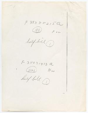 Primary view of object titled '[Handwritten note listing numbers]'.