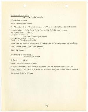 Primary view of object titled '[Report listing Arraignments of Lee Harvey Oswald and Jack Ruby]'.