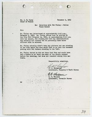 Primary view of object titled '[Report from P. G. McCaghren to Chief J. E. Curry, December 5, 1963]'.