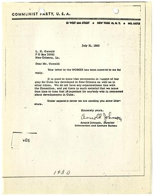 Primary view of object titled '[Letter from Arnold Johnson to Lee Harvey Oswald, July 31, 1963 #3]'.