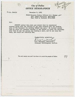 Primary view of object titled '[Memorandum by R. W. Westphal]'.