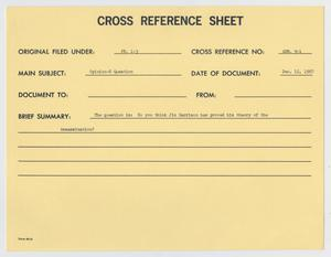 Primary view of object titled '[Cross Reference Sheets from Garrison Investigation]'.
