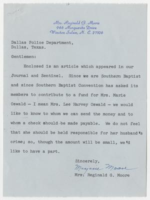 Primary view of object titled '[Letters Regarding Funds for Mrs. Marina Oswald]'.