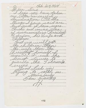 Primary view of object titled '[Letter from Sam Gantry to President Johnson and family, February 24, 1964 #2]'.