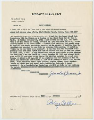 Primary view of object titled '[Affidavit in Any Fact - Statement by James Earl Jarman, Jr., November 23, 1963 #2]'.