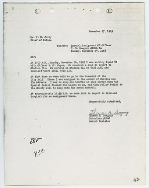 Primary view of object titled '[Report from Thomas R. Gregory to Chief J. E. Curry, November 27, 1963]'.