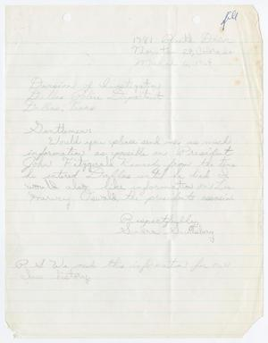 Primary view of object titled '[Letter from Sandra Saulsbery to Division of Investigation]'.