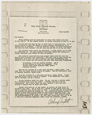 Primary view of object titled '[Letter from Johnny Packett to Lee Harvey Oswald, June 22, 1962]'.