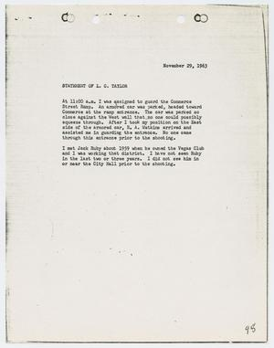 Primary view of object titled '[Typed Statement by L. C. Taylor]'.