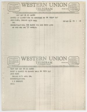 Primary view of object titled '[Telegrams to Jack Ruby from Mr. and Mrs. Sal St. Angelo and C. C. Decoste, November 24, 1963 #2]'.