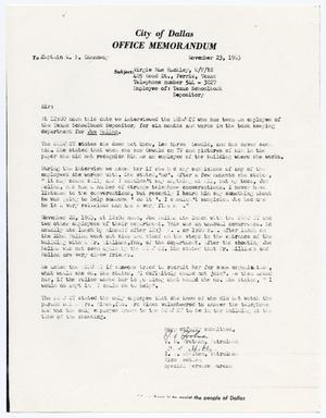 Primary view of object titled '[Memorandum concerning statements made by Virgie Mae Rackley]'.