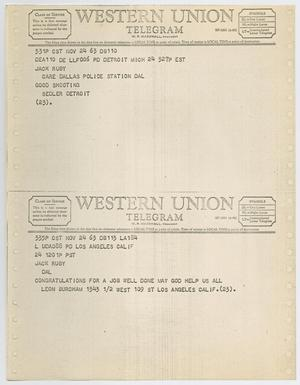 Primary view of object titled '[Telegrams to Jack Ruby from Leon Burcham and anonymous, November 24, 1963 #1]'.