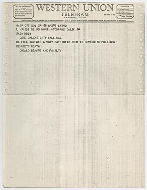 Primary view of object titled '[Telegram to Jack Ruby from Donald Beavse and Family, November 24, 1963 #2]'.