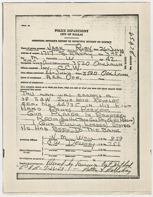 Primary view of object titled '[Report on Jack Ruby, 1953]'.