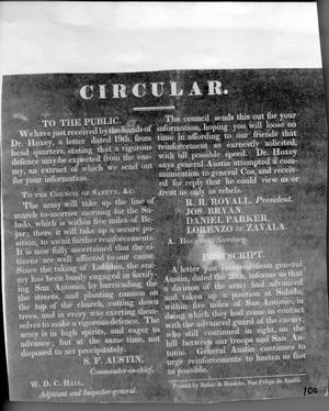 Primary view of object titled '#100 Circular to the Public from Council'.