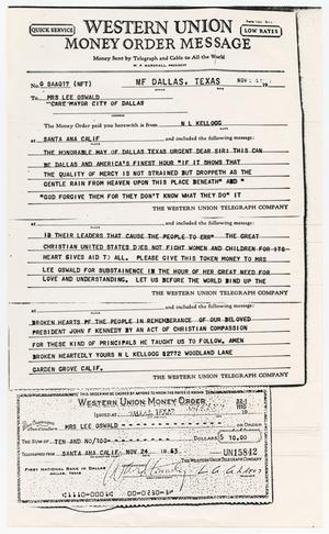Primary view of object titled '[Telegram to Mrs. Lee Oswald from N. L. Kellogg, November 24, 1963]'.