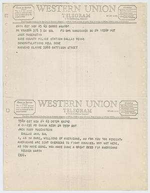 Primary view of object titled '[Telegrams to Jack Ruby from Raymond Clarke, November 25, 1963 and Reuben Barth, November 24, 1963 #2]'.