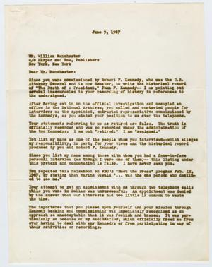 Primary view of object titled '[Letter to William Manchester from Edwin A. Walker, June 9, 1967]'.