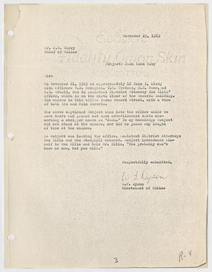 Primary view of object titled '[Report to J. E. Curry by W. F. Dyson, November 24, 1963 #2]'.