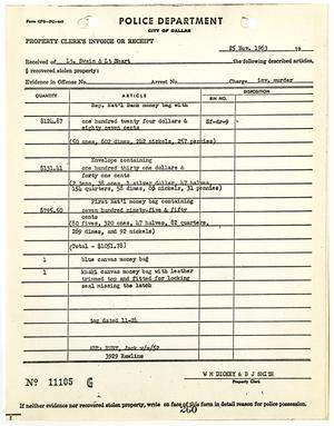 Primary view of object titled '[Property Clerk's Invoice or Receipt for property belonging to Jack Ruby, by W. M. Dickey #1]'.