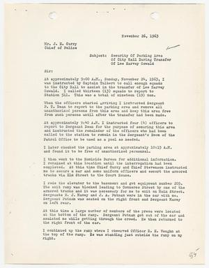 Primary view of object titled '[Report concerning security during the transfer of Lee Harvey Oswald]'.