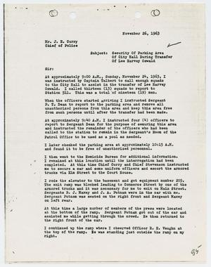 Primary view of object titled '[Report from Rio S. Pierce to Chief J. E. Curry, November 26, 1963]'.