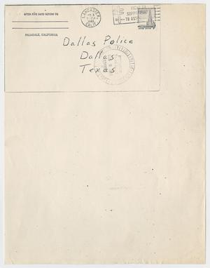 Primary view of object titled '[Letter with Information on Jack Ruby and Lee Harvey Oswald]'.