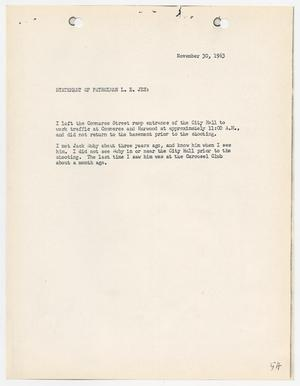 Primary view of object titled '[Statement by L. E. Jez, concerning the murder of Lee Harvey Oswald]'.