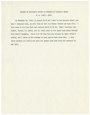 Primary view of object titled '[Report on Officer's Duties Regarding The Murder of Lee Harvey Oswald, by W. E. Potts #1]'.