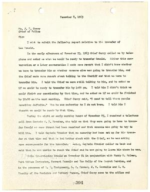 Primary view of object titled '[Report to Chief J. E. Curry by J. W. Fritz, regarding the transfer of Lee Harvey Oswald #1]'.