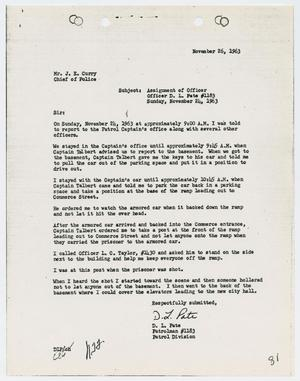 Primary view of object titled '[Report from D. L. Pate to Chief J. E. Curry, November 26, 1963]'.
