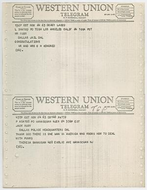 Primary view of object titled '[Telegrams to Jack Ruby from Mr. and Mrs. C. H. Kindred and Theresa Bannigan, November 24, 1963 #2]'.