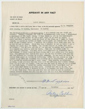 Primary view of object titled '[Affidavit in Any Fact - Statement by W. W. Scoggins, November 23, 1963 #2]'.